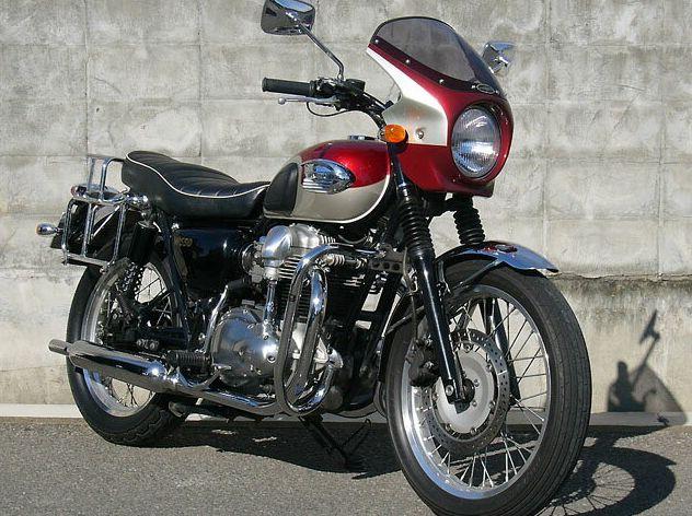 ロードコメット キャンディカーディナルレッド/メタリックシャンパンゴールド(ツートン)クリア/通常スクリーン シックデザイン W650(99~09年)