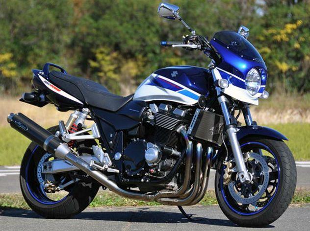 ロードコメット2 パールスズキディープブルーNo.2/グラススプラッシュホワイト(青白3トーン)スモーク/通常スクリーン シックデザイン GSX1400(03~04年)