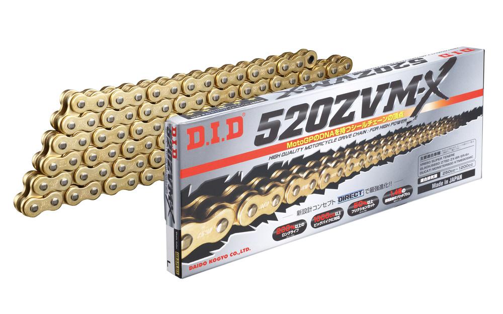 ZVM-Xシリーズ 520ZVM-X-120L ZJ(カシメ) ゴールド色 シールチェーン DID(ダイドー)