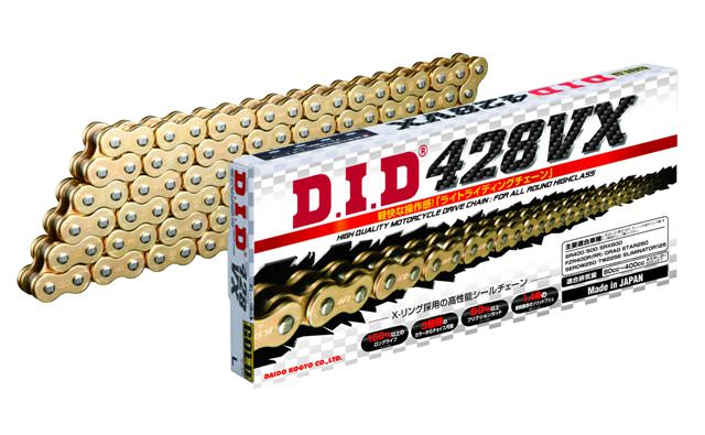 VXシリーズ 428VX-128L FJ(クリップ) ゴールド色 シールチェーン DID(ダイドー)