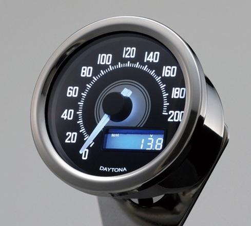 VELONA 電気式スピードメーター 200km/h バフボディー ブラックパネル/ホワイトLED DAYTONA(デイトナ)