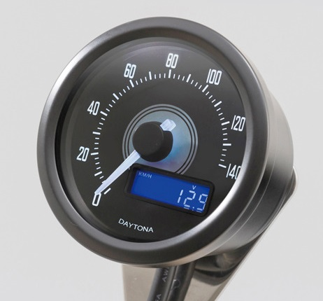 VELONA 電気式スピードメーター 140km/h ブラックボディ ホワイトLED DAYTONA(デイトナ)