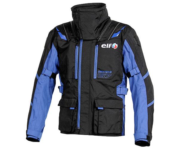 EL-8244 ストレッチナイロンブルゾン ブルー LLサイズ elf(エルフ)