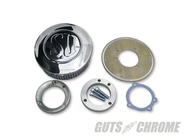 6100-0016 純正CVキャブ用 SUエアクリーナー 薄型サイズ GUTS CHROME(ガッツクローム)