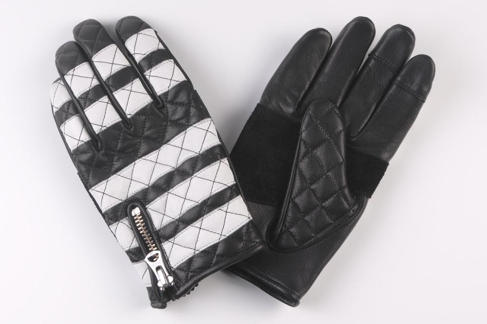 ブラック/ホワイト GMG-09 カウハイド・グローブ〈ダイヤステッチ) Lサイズ