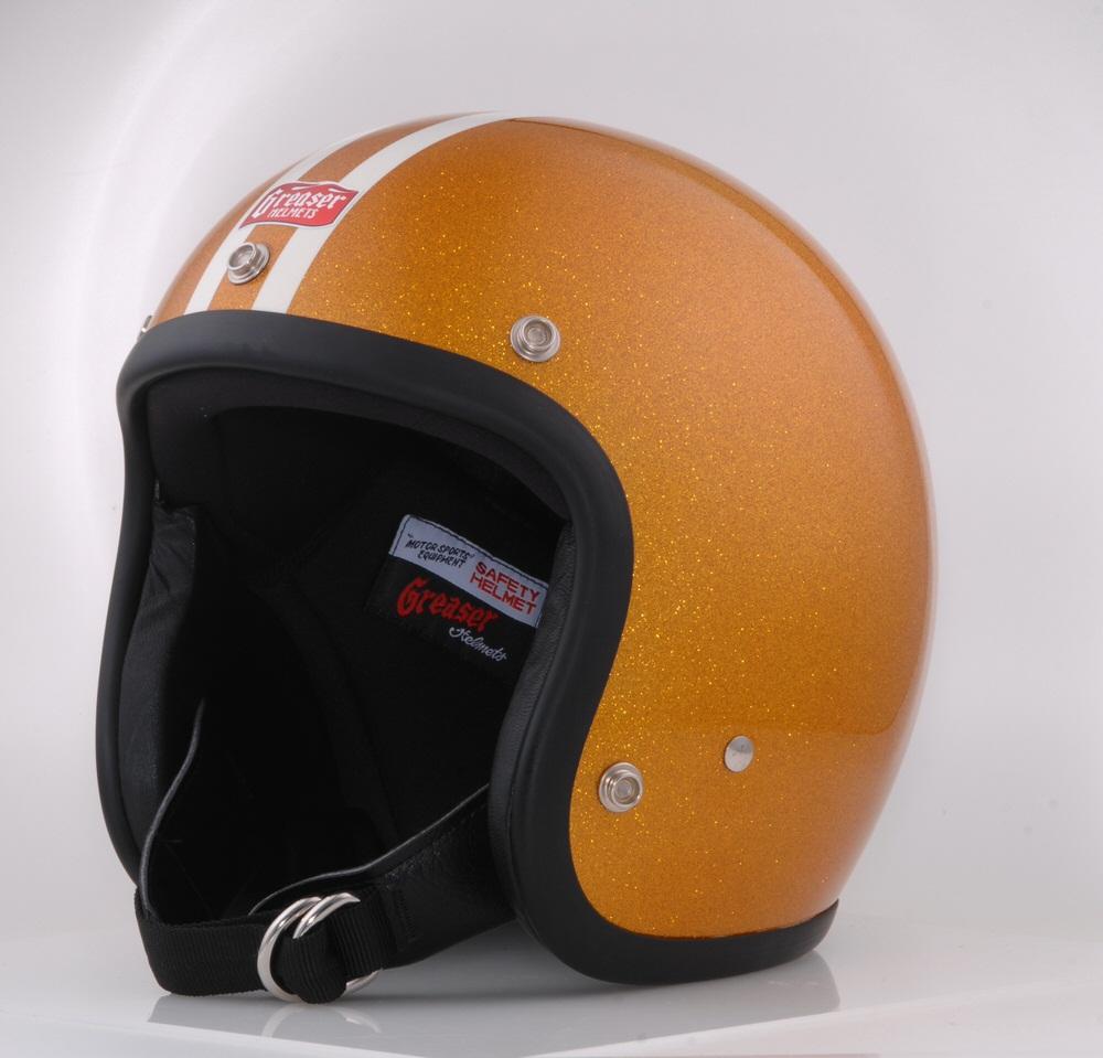 GREASER FLAKE 2LINE ジェットヘルメット ゴールド L(59cm~60cm) GREASER(グリーサー)