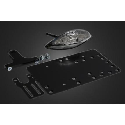サイドナンバーキット グラステールランプLED(クリアーレンズ) 取り付けステー付 ガレージT&F シャドウ400(SHADOW)