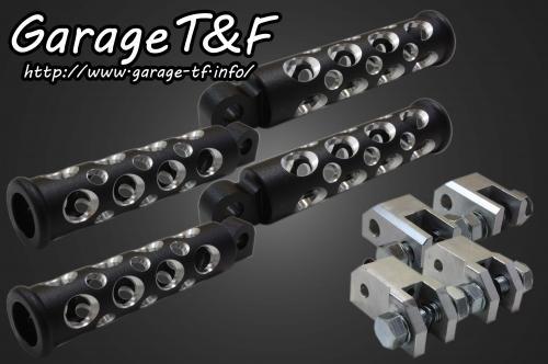 【送料無料】 スティード400(STEED) コンバットフットペグ(ブラック) フロント&リアセット ガレージT&F