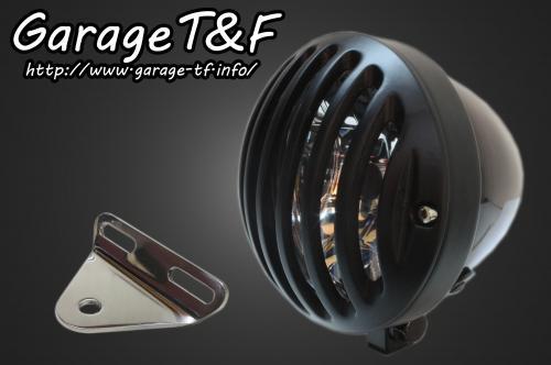 ドラッグスター400(DRAGSTAR) 4.5インチバードゲージヘッドライト(ブラック/ブラック)&ライトステー(タイプA)キット ガレージT&F
