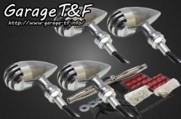 バードゲージウィンカータイプ2(ポリッシュ/ポリッシュ)ダークレンズ仕様キット フロントマウントウィンカーステーメッキ ガレージT&F グラストラッカー