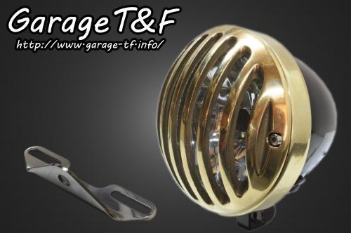 バルカン400クラシック 4.5インチバードゲージヘッドライト(ブラック/真鍮)&ライトステー(タイプB)キット ガレージT&F