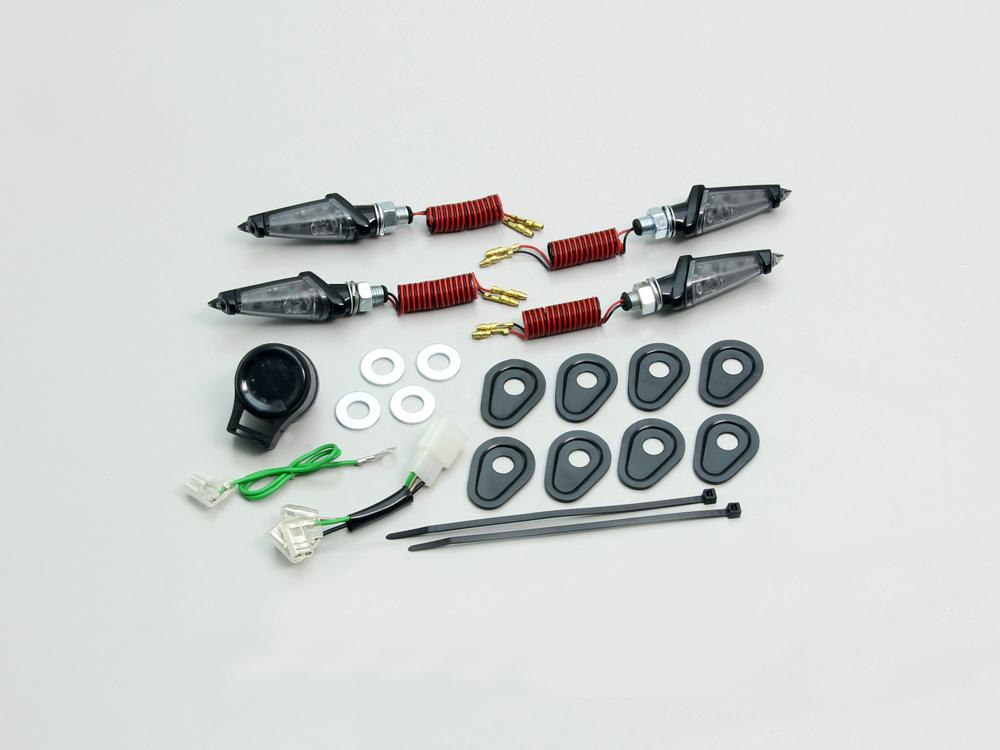 YZF-R25(ABS無モデル) LEDダガーウインカーキット ブラックボディ スモークレンズ HURRICANE(ハリケーン)