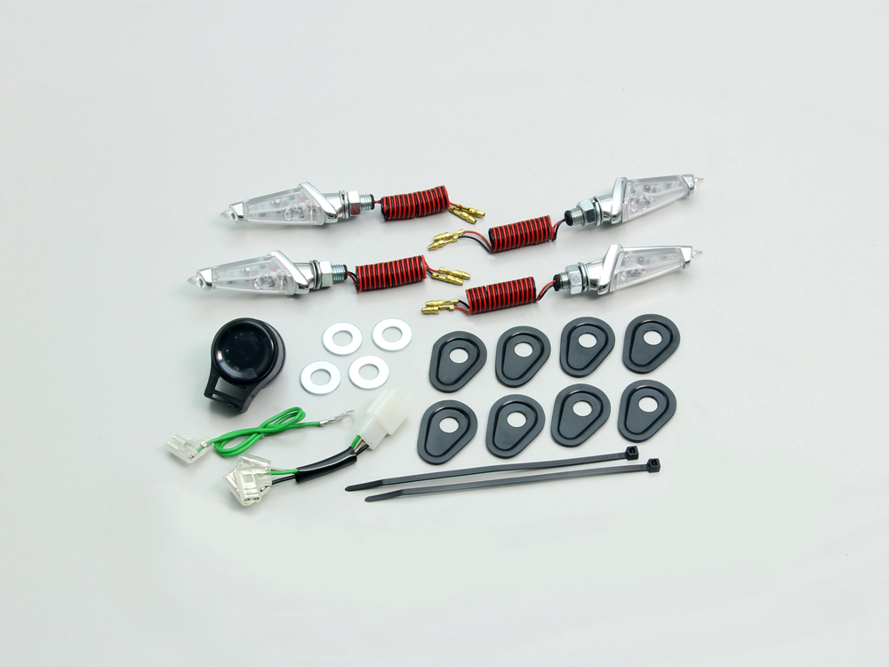 YZF-R25(ABS無モデル) LEDダガーウインカーキット メッキボディ クリアレンズ HURRICANE(ハリケーン)