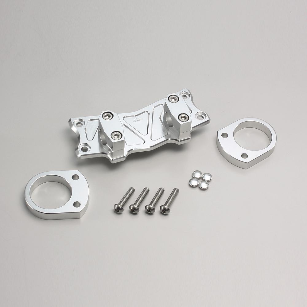 ZZR1400/ABS バーハンドルブラケット ヘキサゴン型ホルダー 一体式 シルバー HURRICANE(ハリケーン)