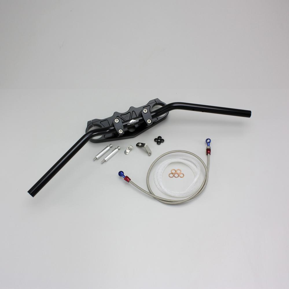 ZZR1400(~11年 ~CBF) バーハンドルキット(ジュラルミンコンチ3型ハンドル)ブラック ブレーキホース アールズ アルミ製 HURRICANE(ハリケーン)