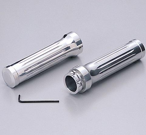 【送料無料】 スカイウェイブ250SS(SKYWAVE) アルミグリップ Φ1インチ(25.4mm)ハンドル用 ビレット クロームメッキ HURRICANE(ハリケーン)