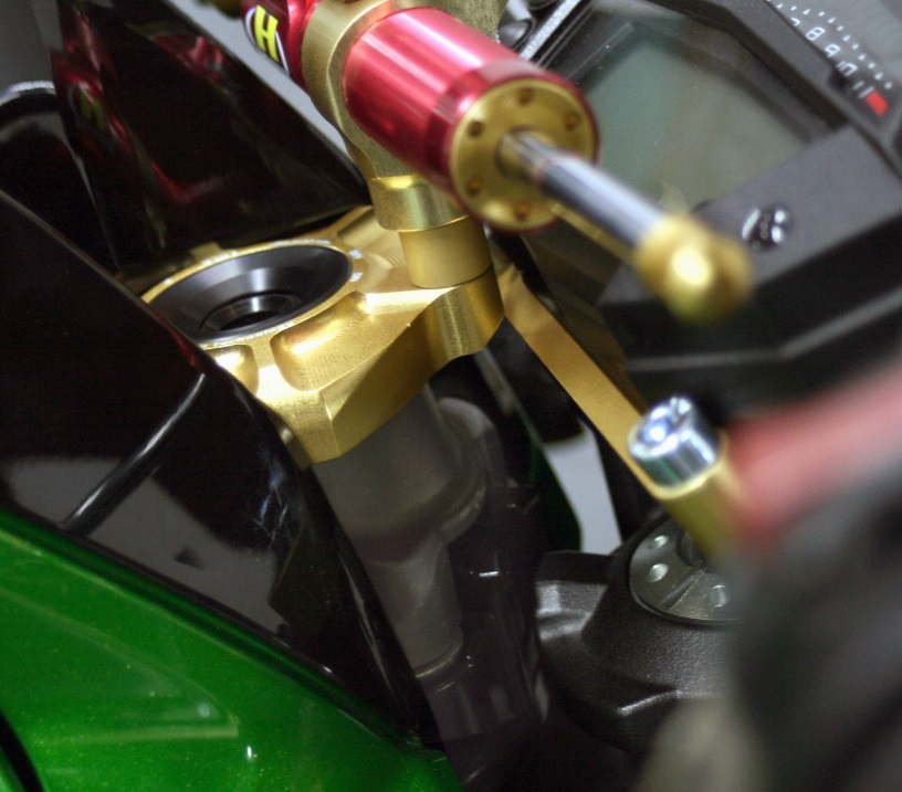 Z1000/ABS(14~15年) ステアリングダンパーステーセット 75mm TYPE-3 ゴールド ハイパープロ(HYPER PRO)