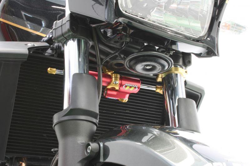 CNCステアリングダンパーステー 75mm/TYPE-1 ゴールド ハイパープロ(HYPER PRO) ZRX1200 DAEG(ダエグ)