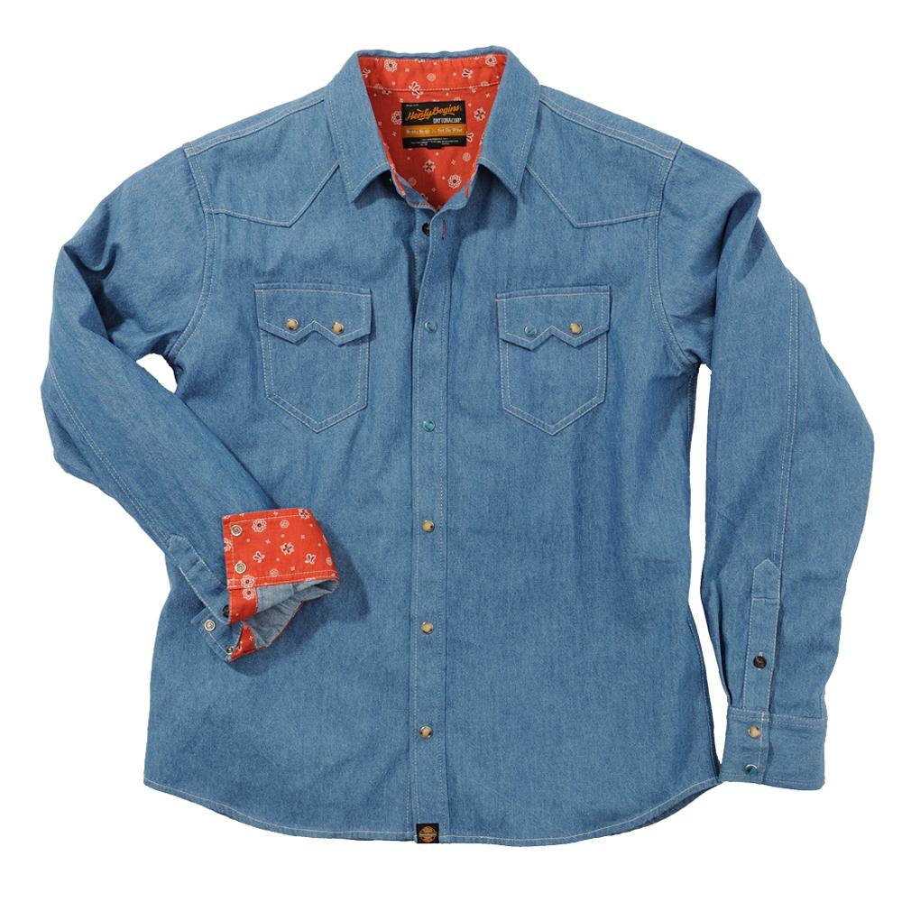NHB1502 デニムシャツ(プロテクター対応シャツ)ライトブルー Mサイズ HenlyBegins(ヘンリービギンズ)