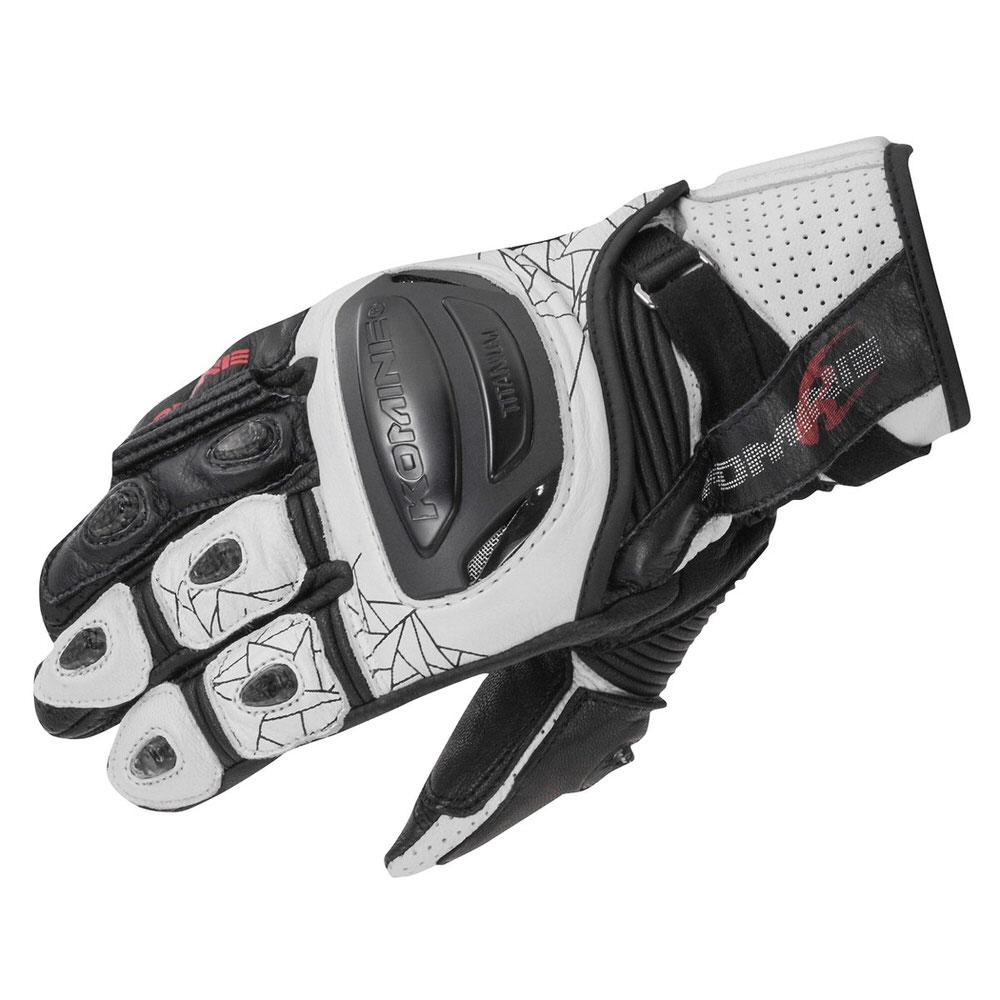 GK-236 チタニウムスポーツグローブ ホワイトブラック Sサイズ コミネ(KOMINE)