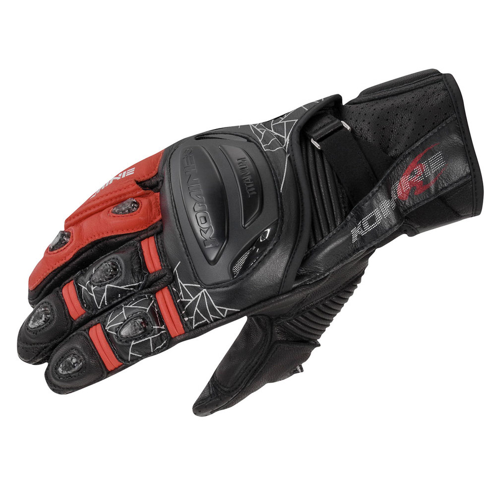 GK-236 チタニウムスポーツグローブ ブラックレッド Sサイズ コミネ(KOMINE)