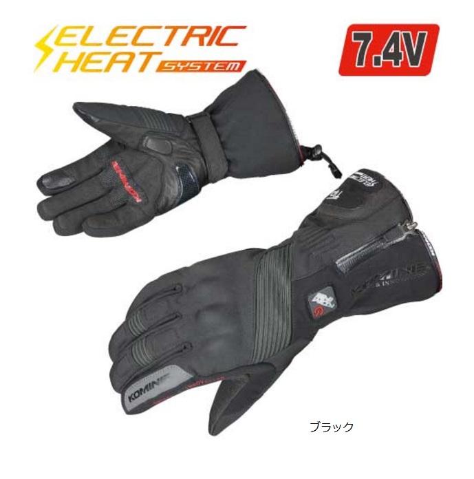 GK-804 エレクトリックヒートグローブ-カシウス ブラック Sサイズ コミネ(KOMINE)