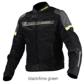 JK-093(07-093)エアストリームメッシュジャケット コルドバ ブラック/ライムグリーン Lサイズ コミネ(KOMINE)