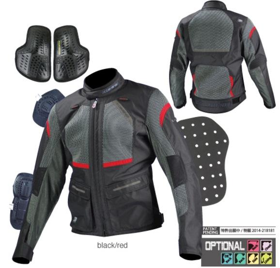 JK-102(07-102)プロテクトツーリングメッシュジャケット ブラック/レッド 3XLサイズ コミネ(KOMINE)