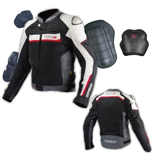 JJ-001 00-001 チタニウムメッシュジャケット ブラック/シルバー Lサイズ コミネ(KOMINE)