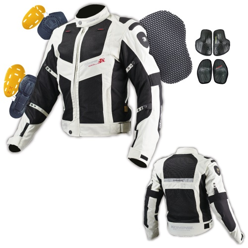 JJ-003 00-003 ツアラーメッシュジャケット ブラック/シルバー 2XLサイズ コミネ(KOMINE)