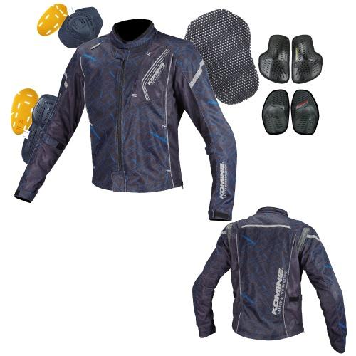 JK-128 07-128 プロテクトフルメッシュジャケット クラッシュブルー/ブラック 3XLサイズ コミネ(KOMINE)
