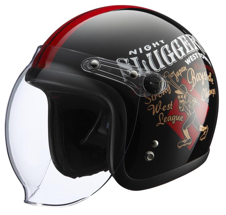 シールド付きヘルメット RJ605 PLAY BONES2 ブラック/レッド フリーサイズ(57-60cm) KNUCKLE HEAD(ナックルヘッド)