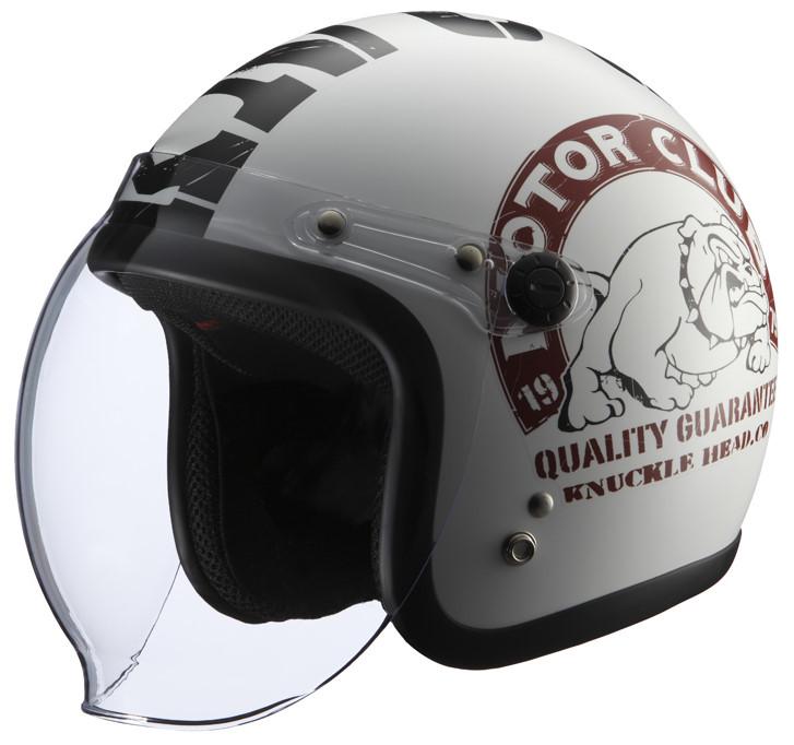 シールド付きヘルメット KNUCKLE BULL2 ホワイト/ブラック フリーサイズ(57-60cm) KNUCKLE BULL2 HEAD(ナックルヘッド), タワラモトチョウ:5185ae7f --- incor-solution.net