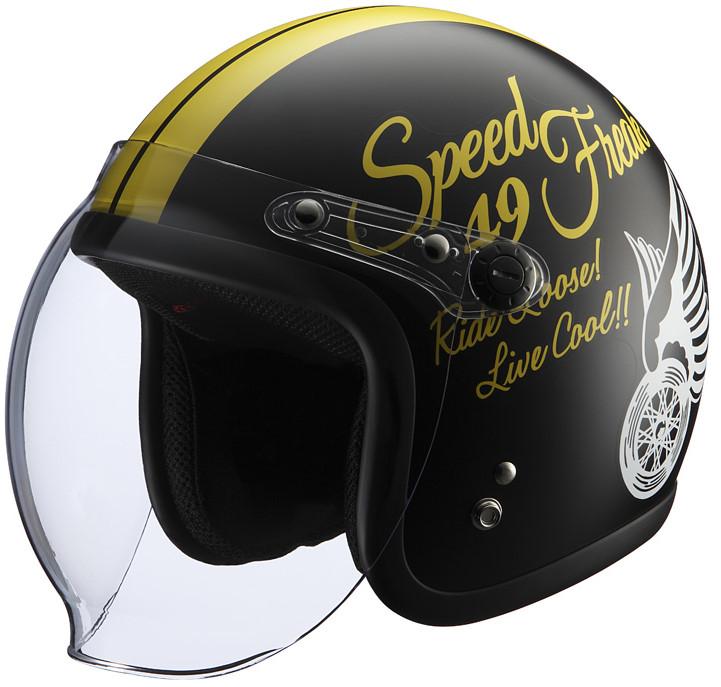 シールド付きヘルメット SpeedFreak2 ブラック/イエロー フリーサイズ(57-60cm) KNUCKLE HEAD(ナックルヘッド)