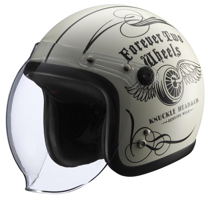 シールド付きヘルメット FLYWHEEL2 アイボリー/ブラック フリーサイズ(57-60cm) KNUCKLE HEAD(ナックルヘッド)