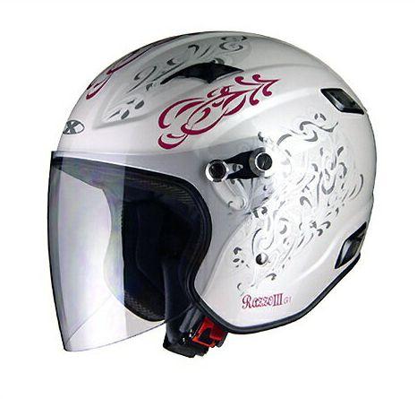 X-AIR RAZZOIII G1 ジェットヘルメット パールホワイト/トライバル リード工業