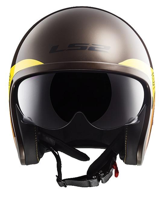 SPITFIRE スピットファイア ヘルメット ブラウン/オレンジ/イエロー XXLサイズ LS2(エルエス2)