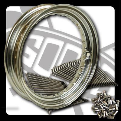 スティード400(STEED)リア 16インチキット クローム スチールスポーク GOODS(モーターガレージグッズ)