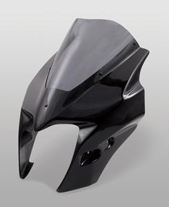 GSR400(06~08年) アッパーカウル FRP製・黒/一部綾織りカーボン製/クリア MAGICAL RACING(マジカルレーシング)