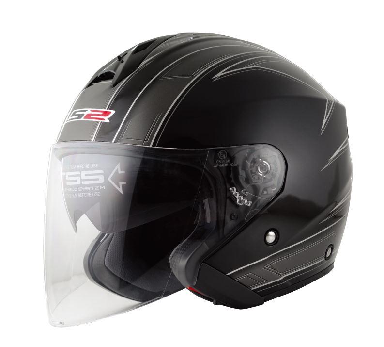 LS2 FREEWAY(フリーウェイ) エスプリブラック XLサイズ ツインシールド・ジェットヘルメット MHR