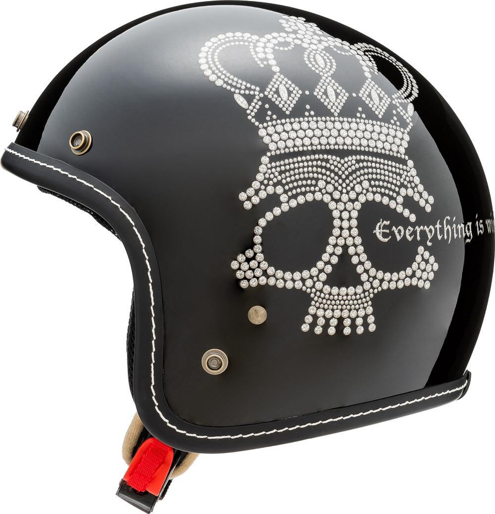 MCJ2 クラウンスカル ジェットヘルメット グロスブラック Mサイズ MARUSHIN(マルシン)