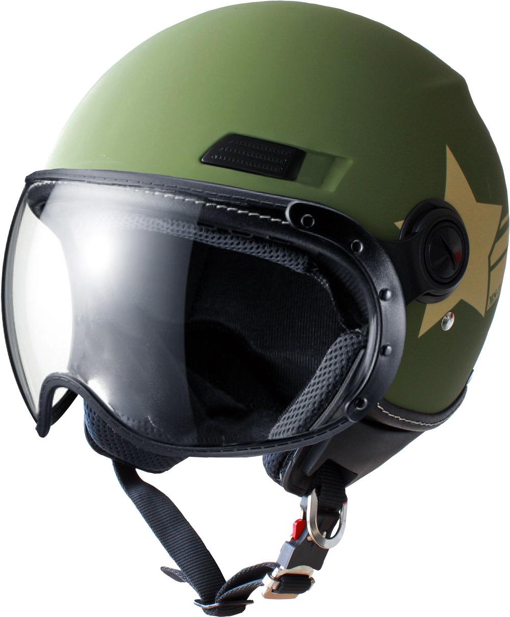 MS-340 パイロットタイプヘルメット アミースター マットカーキー Mサイズ MARUSHIN(マルシン)