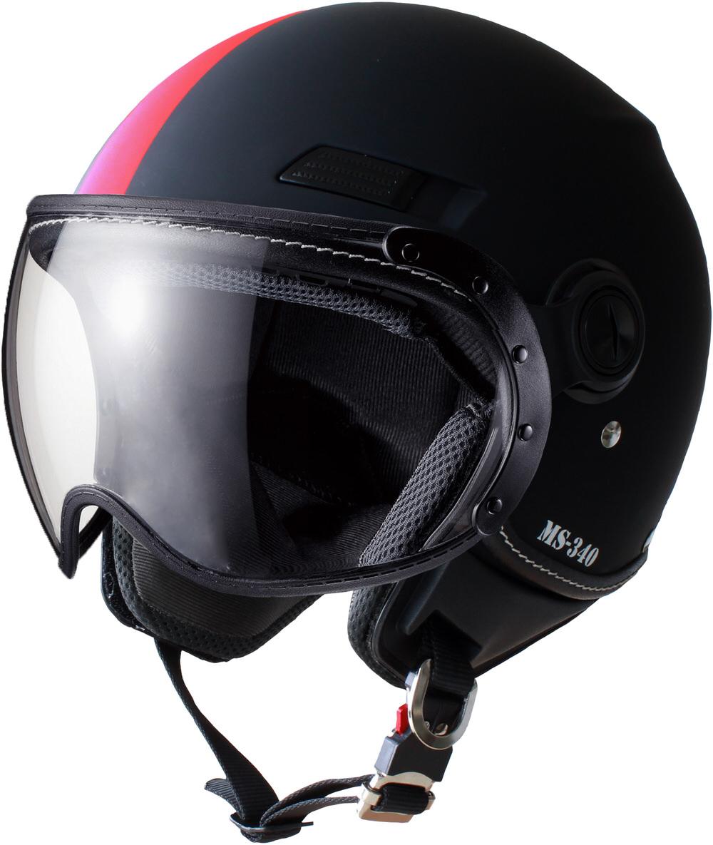 MS-340 パイロットタイプヘルメット アシンメトリック レッド Lサイズ MARUSHIN(マルシン)