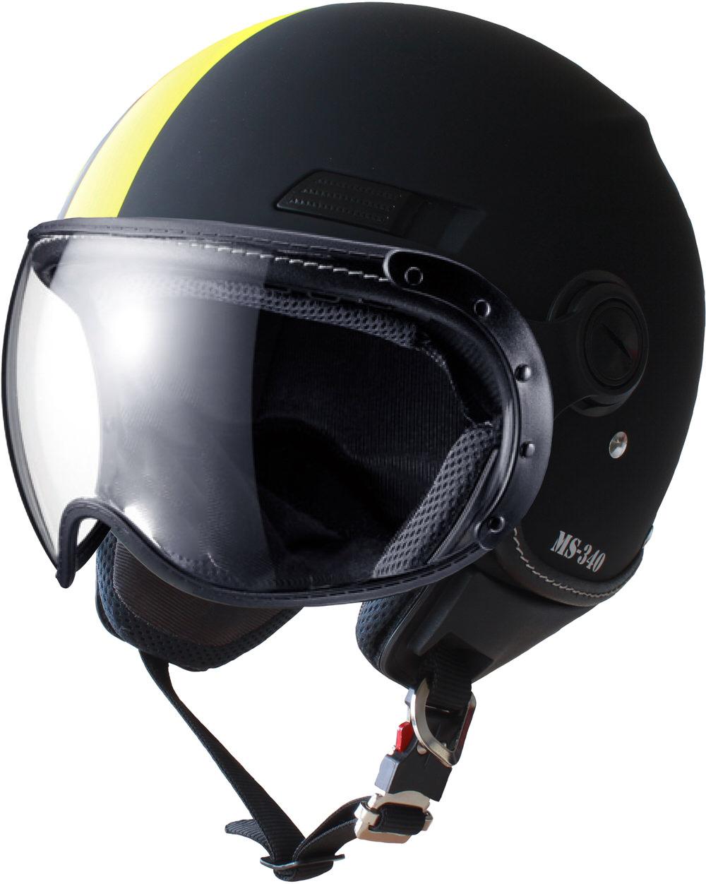 MS-340 パイロットタイプヘルメット アシンメトリック イエロー Mサイズ MARUSHIN(マルシン)