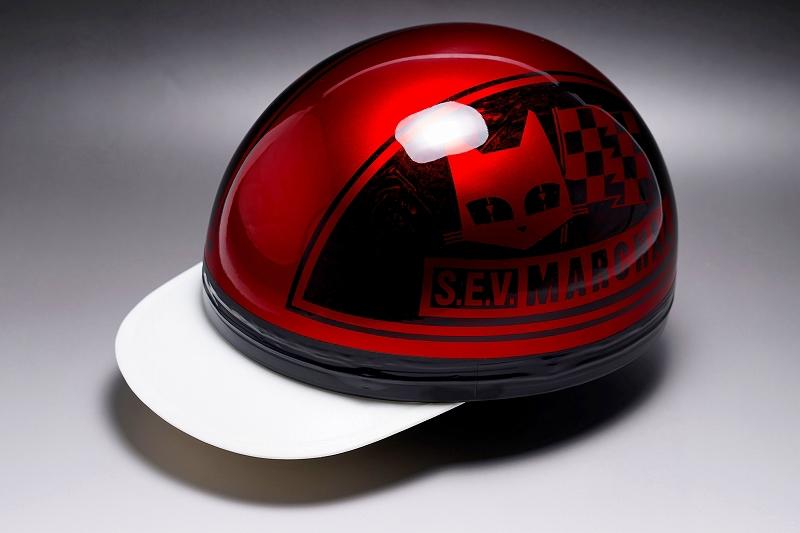 半キャップヘルメット レッド×ブラック MINIMOTO(ミニモト)