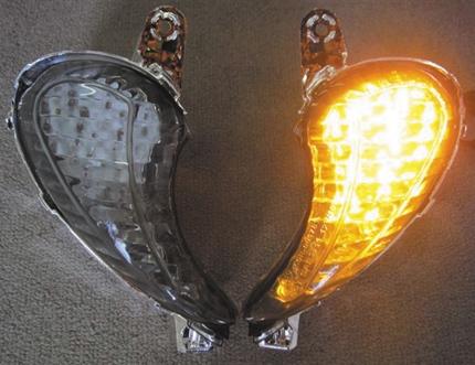 GSX1300R(隼)08~14年 フロントウインカーレンズ スモーク LEDバルブセット ODAX(オダックス)