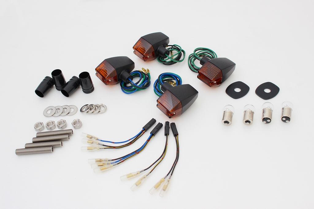 ZRX400II(04年~) クラシカルスリム&シャープタイプウインカーセット ブラックボディー/オレンジレンズ POSH(ポッシュ)