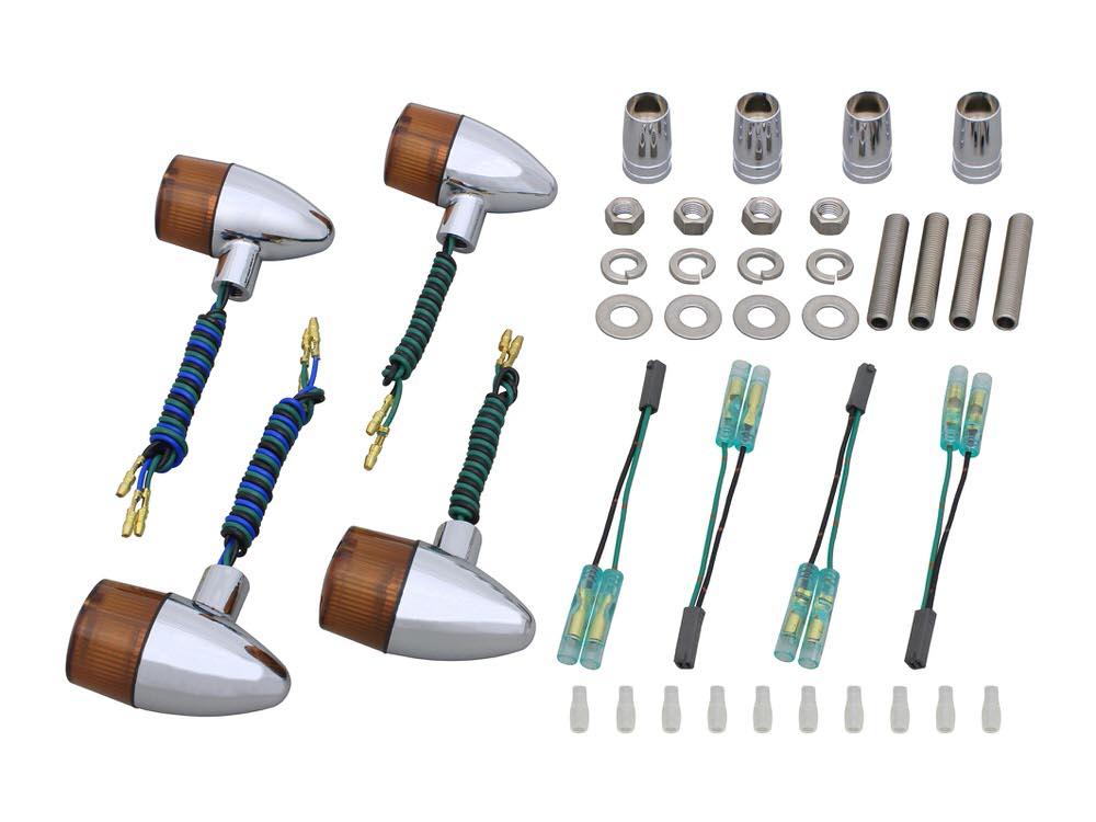 【送料無料】 ボルトオンウインカーキット クラシカル砲弾タイプ メッキ/オレンジレンズ POSH(ポッシュ) GSX400インパルス(99年~)