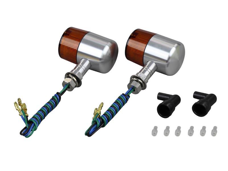 ミドルマシンドウインカー 71タイプ 2個セット ショートステー シルバーボディ/オレンジレンズ ダブル球(12V23W8W/バルブ付) POSH(ポッシュ)