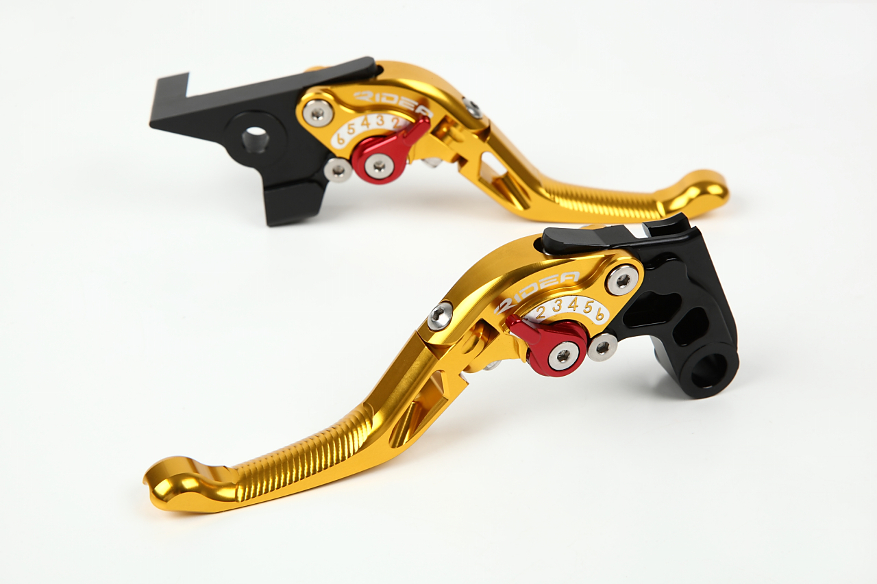 KTM 390DUKE 可倒式アジャストショートレバー ブレーキレバー&クラッチレバーセット ゴールド RIDEA(リデア)
